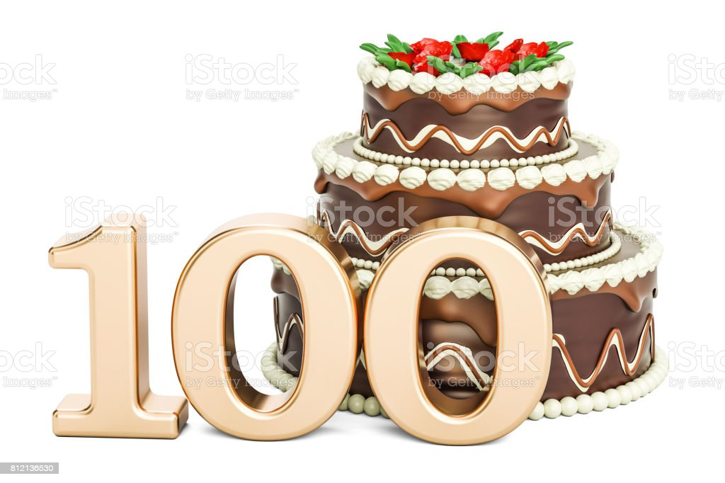 Chocolate Birthday cake with golden number 100, 3D rendering isolated on white background stock photo