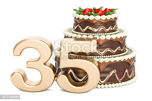 istock Chocolate Birthday cake with golden number 35, 3D rendering isolated on white background 812136494