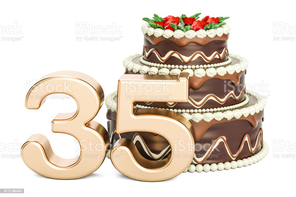 Chocolate Birthday cake with golden number 35, 3D rendering isolated on white background stock photo