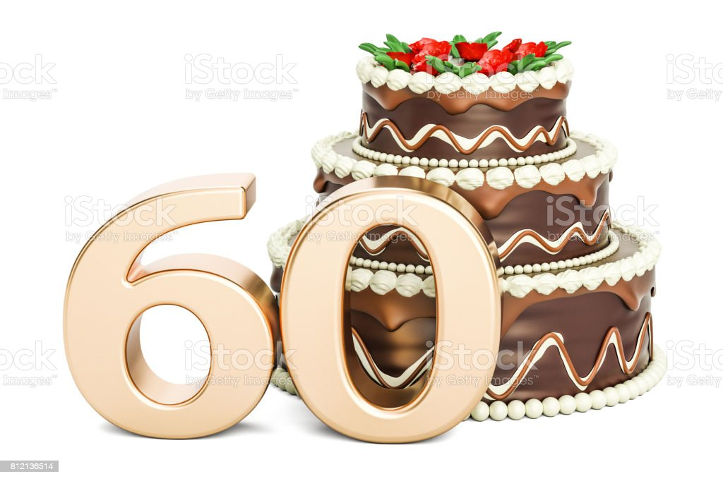 Chocolate Birthday cake with golden number 60, 3D rendering isolated on white background stock photo