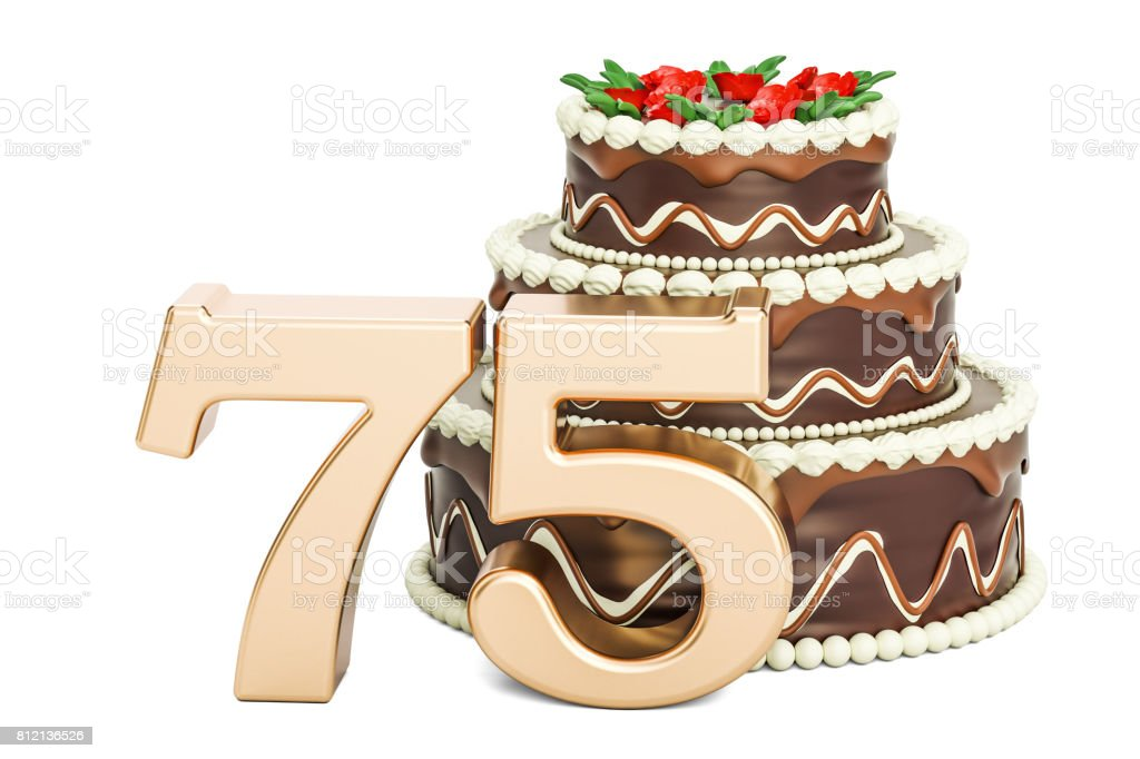 Chocolate Birthday cake with golden number 75, 3D rendering isolated on white background stock photo