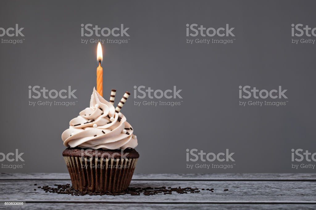 Chocolate Birthday Cupcake stock photo