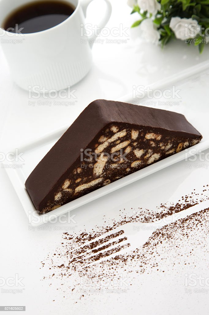 Chocolate biscuit cake and coffee stock photo