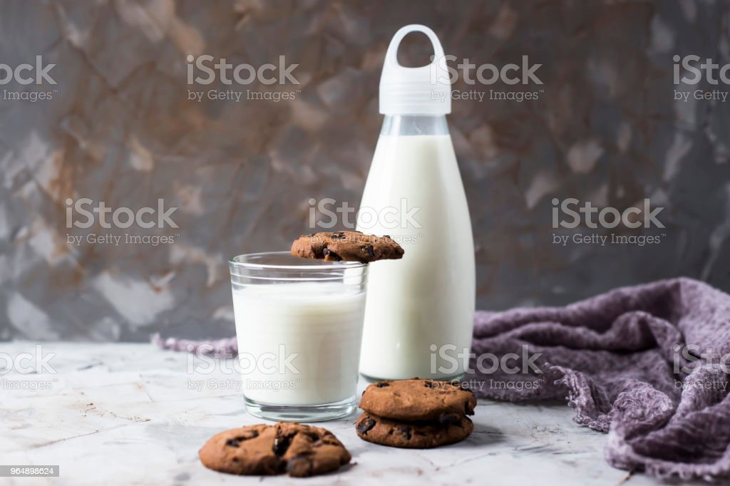 Chocolate biscuits next to a glass bottle and a glass of milk on a gray table. royalty-free stock photo
