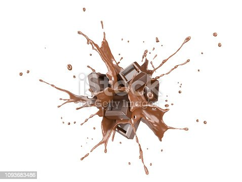 Chocolate blocks splashing into a liquid chocolate splash burst in the air. Isolated On white background.