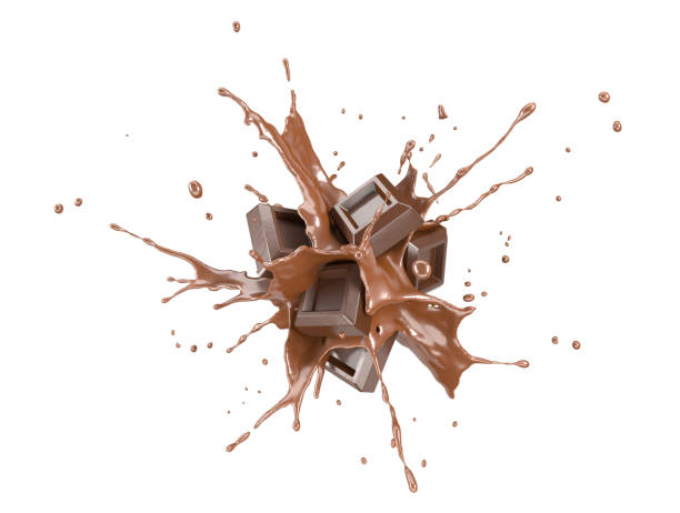 chocolate blocks splashing into a liquid chocolate splash burst in the air. - chocolate imagens e fotografias de stock