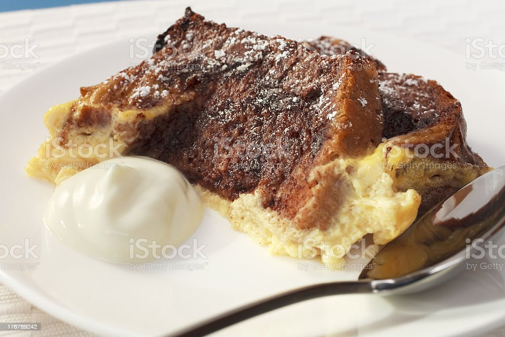 Chocolate Bread and Butter Pudding Plate Plated stock photo