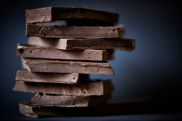 Chocolate broken on a stack. stock photo