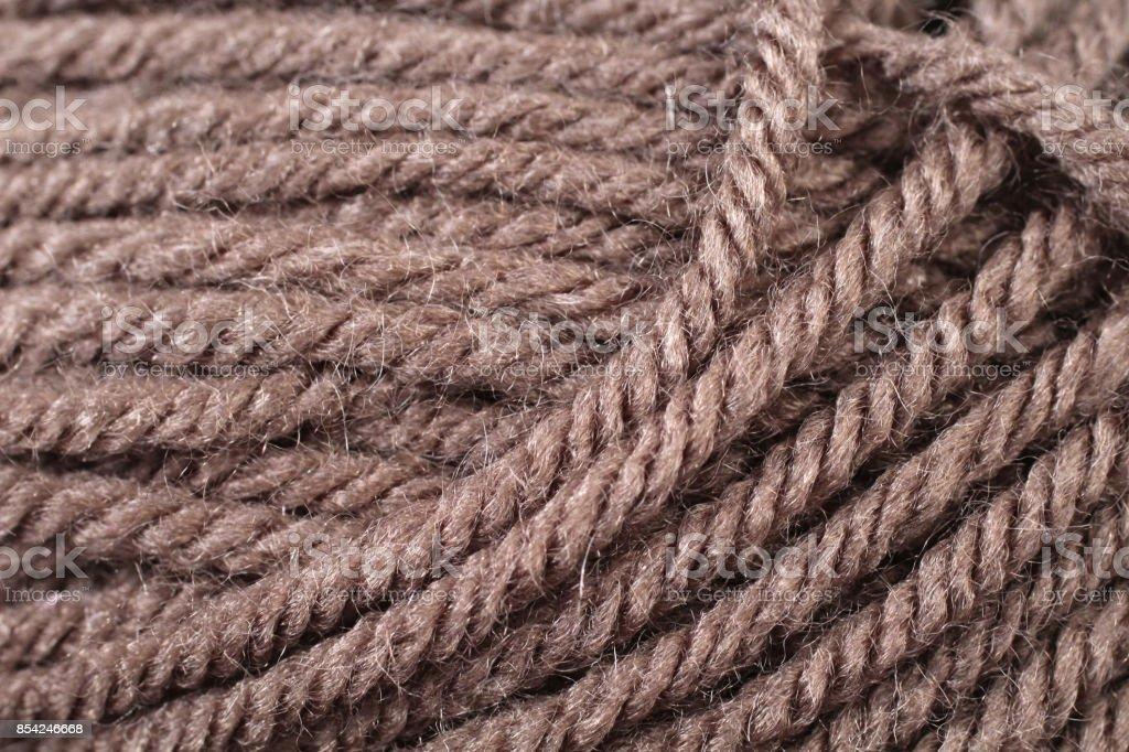 Chocolate Brown Yarn Texture Close Up stock photo