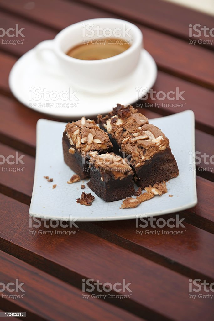 Chocolate Brownie and Espresso royalty-free stock photo