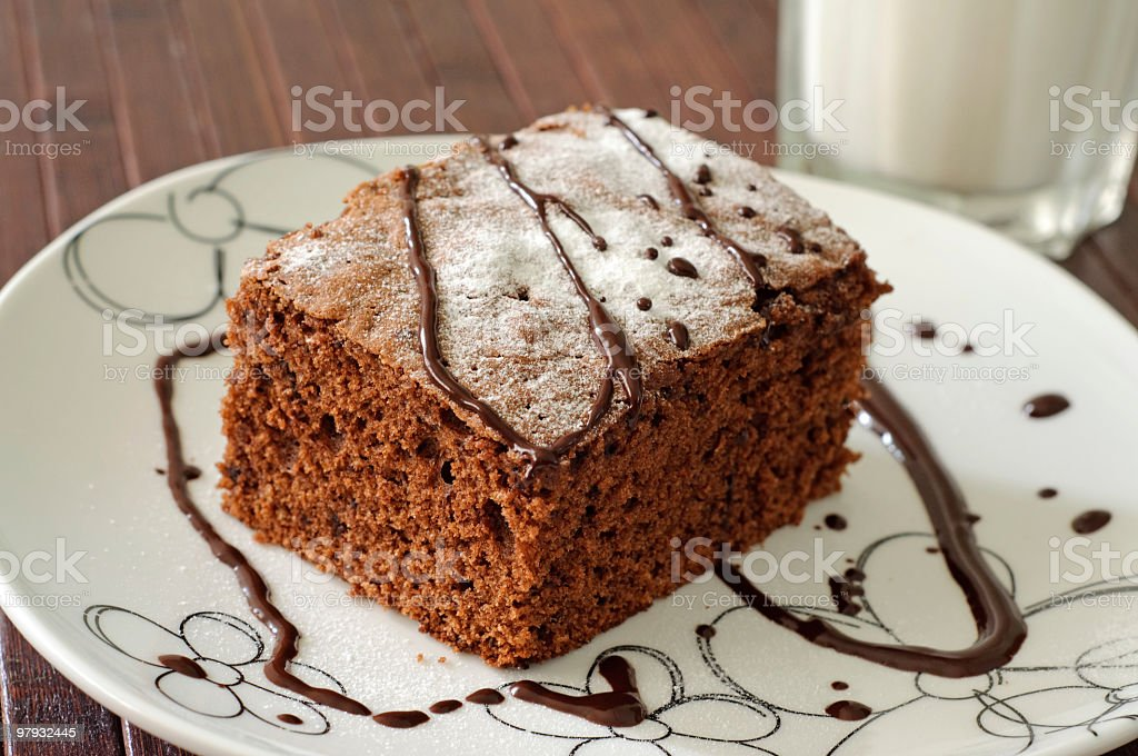 Chocolate brownie on the plate royalty-free stock photo
