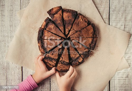 istock chocolate brownie, selective focus. food and drink. 1067911702
