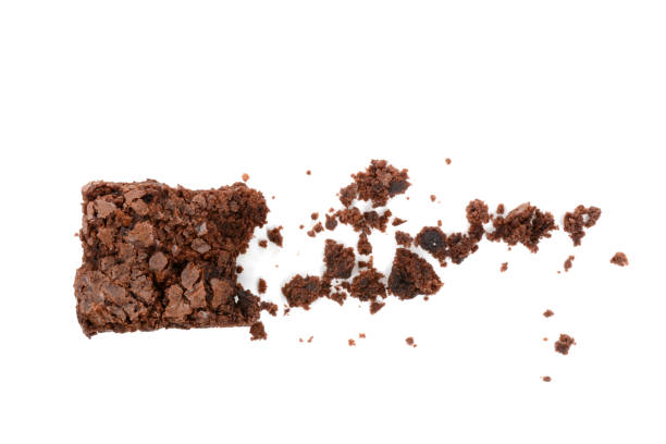 chocolate brownie with crumbs - briciola foto e immagini stock