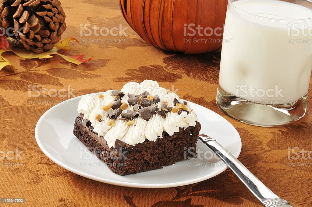 Chocolate brownie with milk royalty-free stock photo