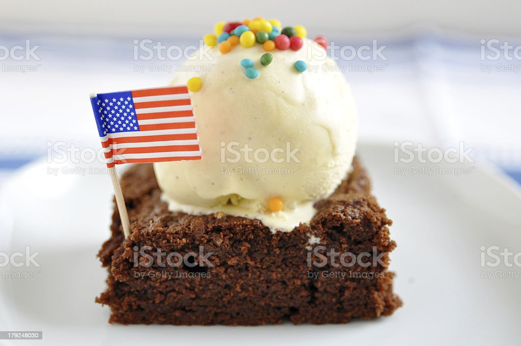 Chocolate Brownie with vanilla ice cream stock photo