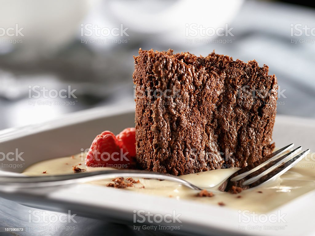 Chocolate Brownies in a French Vanilla Sauce royalty-free stock photo