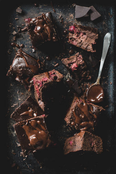 Chocolate brownies on dark background stock photo