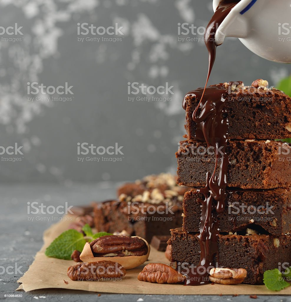 Chocolate brownies with nuts stock photo