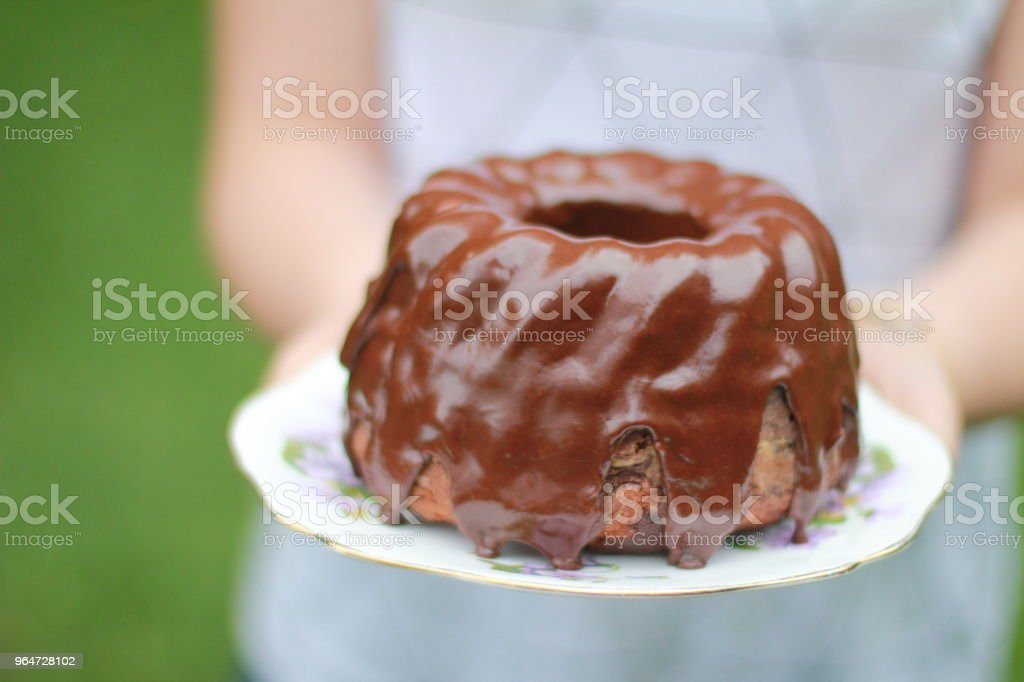 Chocolate Bundt cake royalty-free stock photo