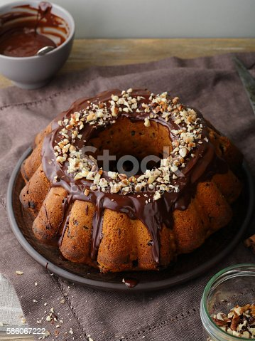 istock Chocolate bundt cake with nuts 586067222