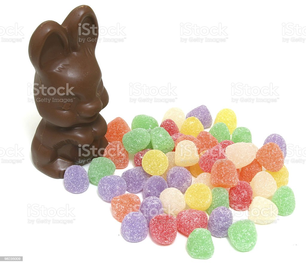 Chocolate Bunny and candy royalty-free stock photo