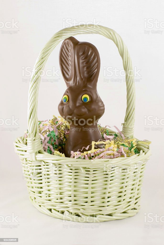 Chocolate Bunny in Basket stock photo