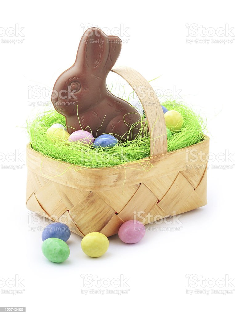 Chocolate bunny in Easter basket stock photo