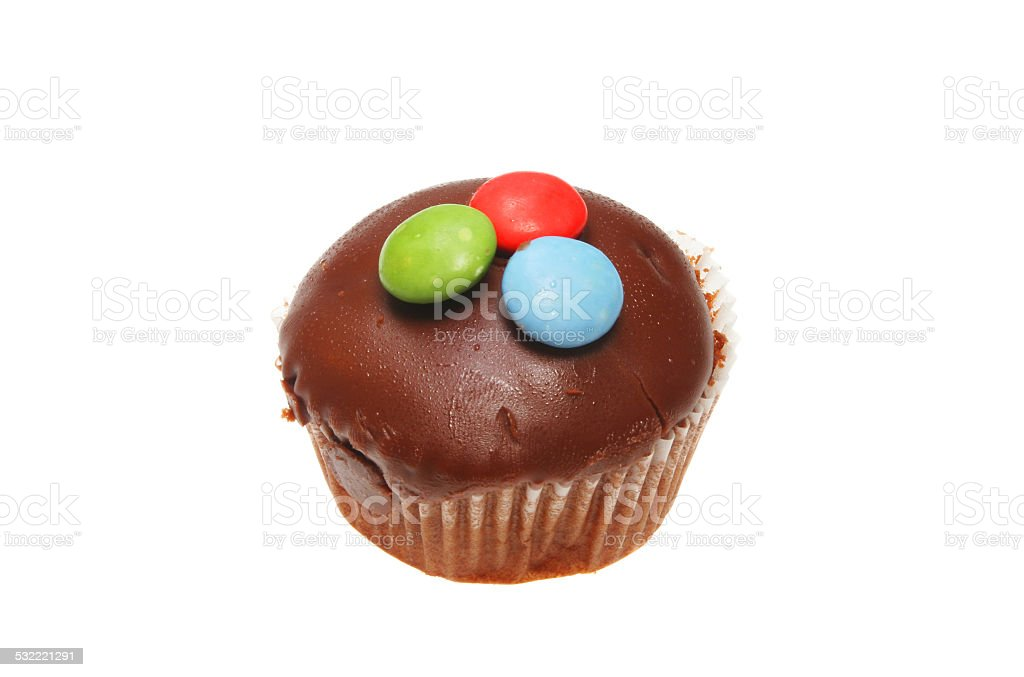 Chocolate button cup cake stock photo