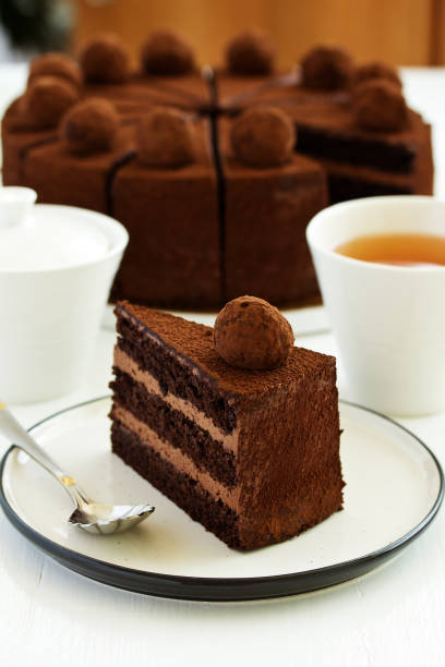 Chocolate cake. A slice of chocolate cake. Selective focus stock photo