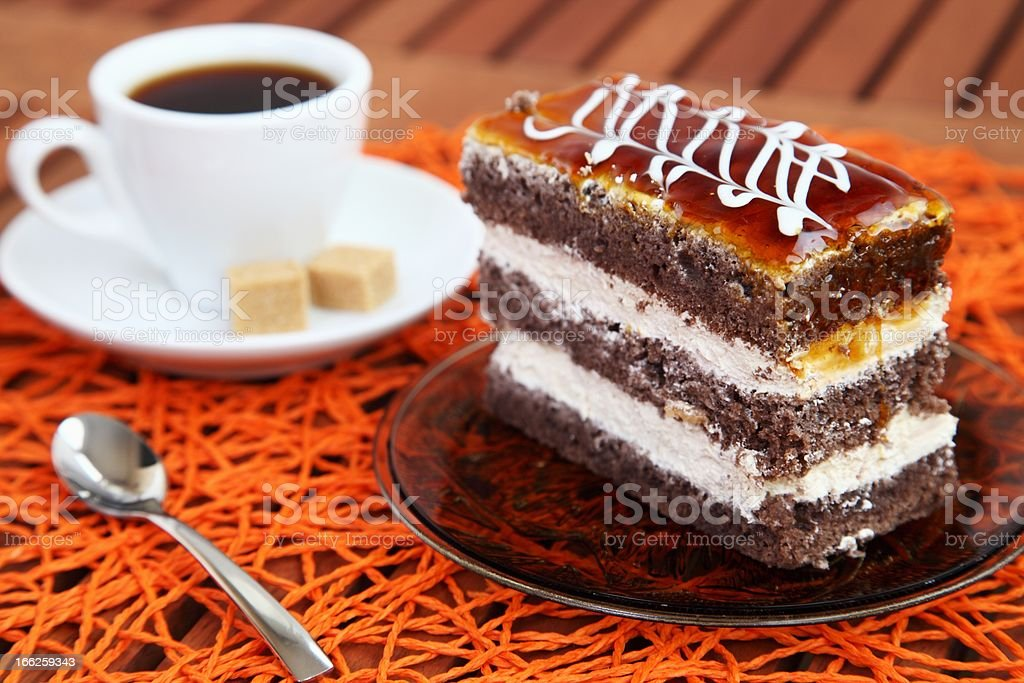 Chocolate cake and coffee royalty-free stock photo