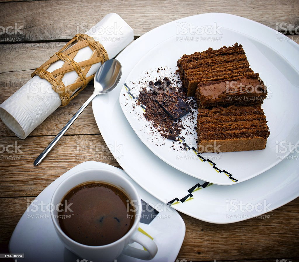 Chocolate cake and cup of coffee royalty-free stock photo