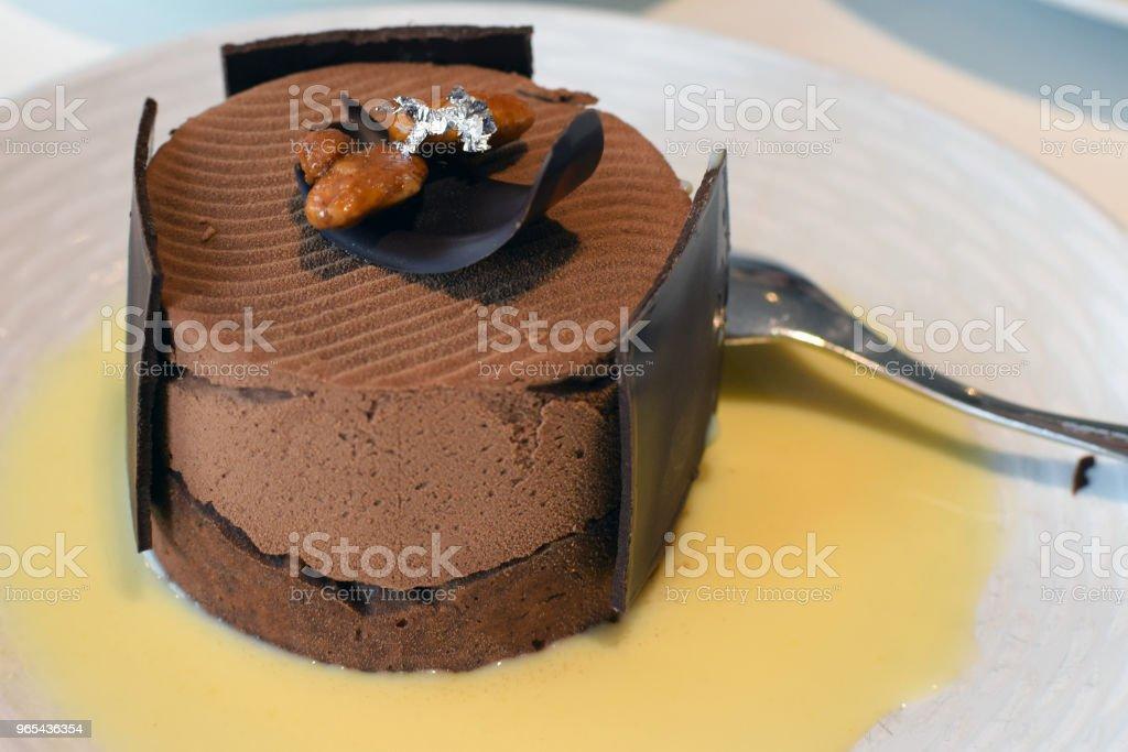 Chocolate cake and custard zbiór zdjęć royalty-free
