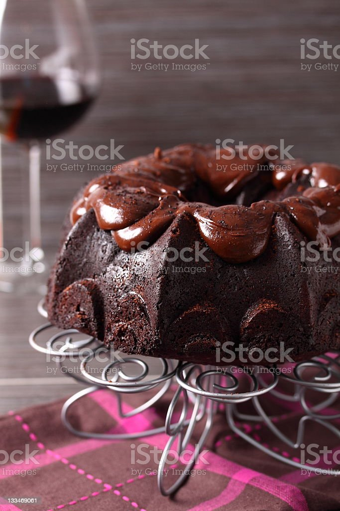 Chocolate cake and glass of wine royalty-free stock photo