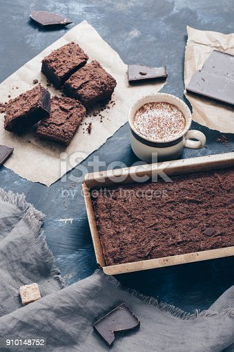 istock Chocolate cake and hot coffee with milk. 910148752