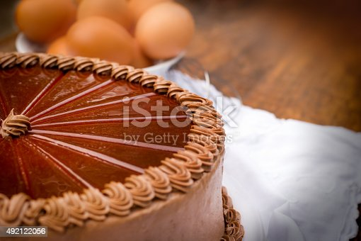 istock Chocolate cake - close up 492122056