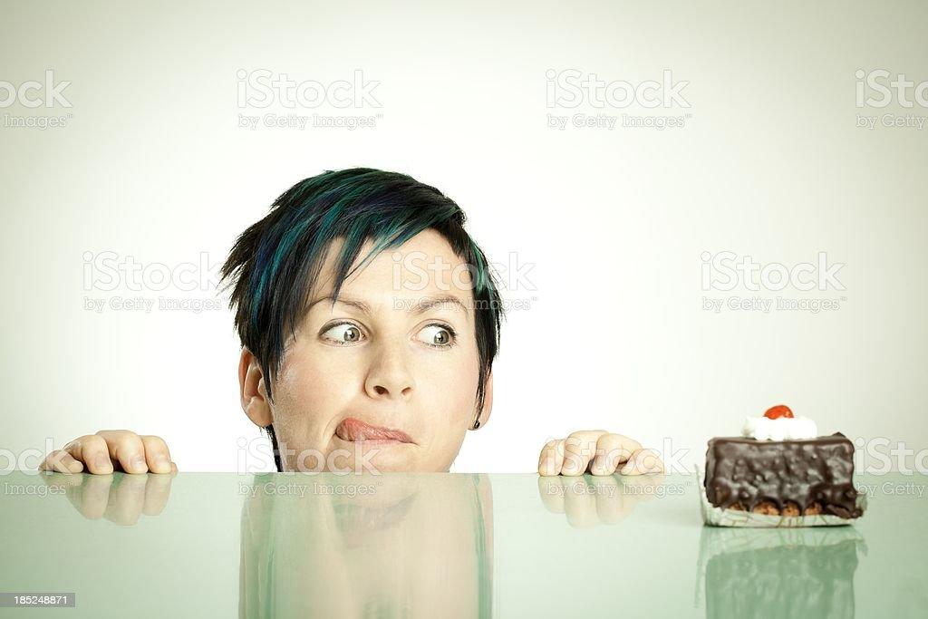 Chocolate cake desire stock photo