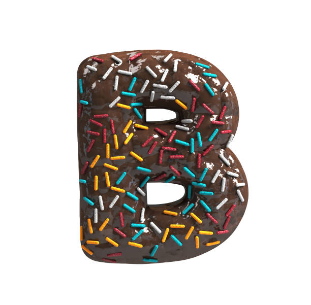 Chocolate Cake Donut Font with colorful sprinkles. Delicious Letter B stock photo
