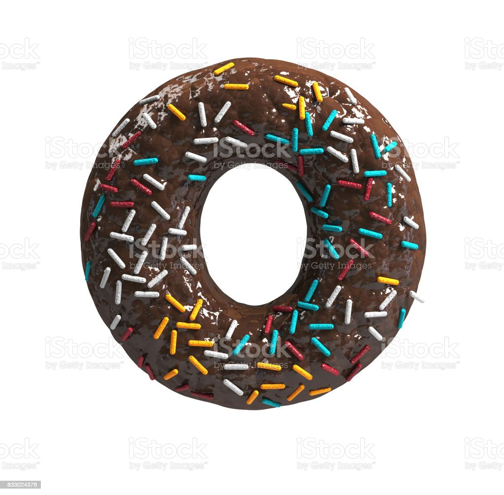 Chocolate Cake Donut Font with colorful sprinkles. Delicious Letter O stock photo