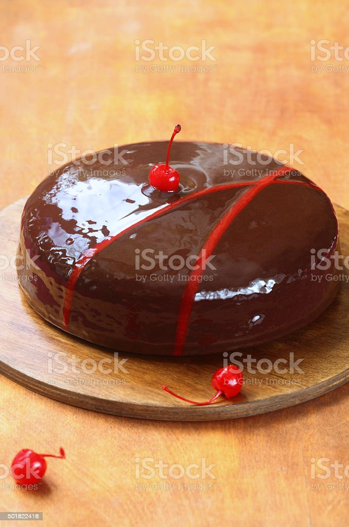 Chocolate Cake Glazed With Chocolate Mirror Glaze Stock