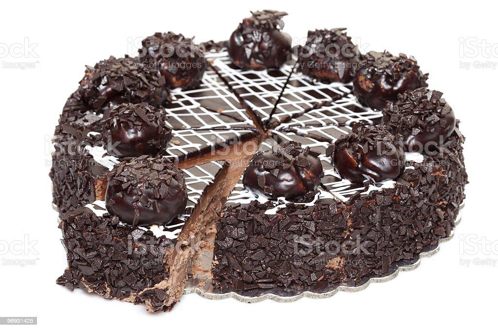 Chocolate cake isolated on white background royalty-free stock photo