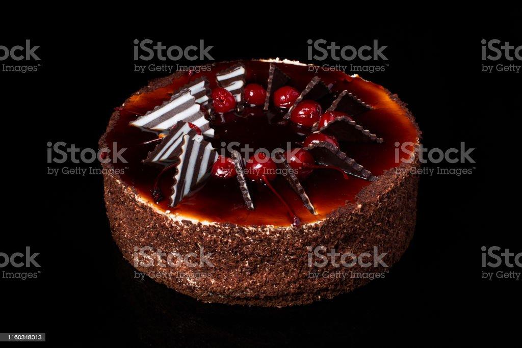 Chocolate cake on a black background