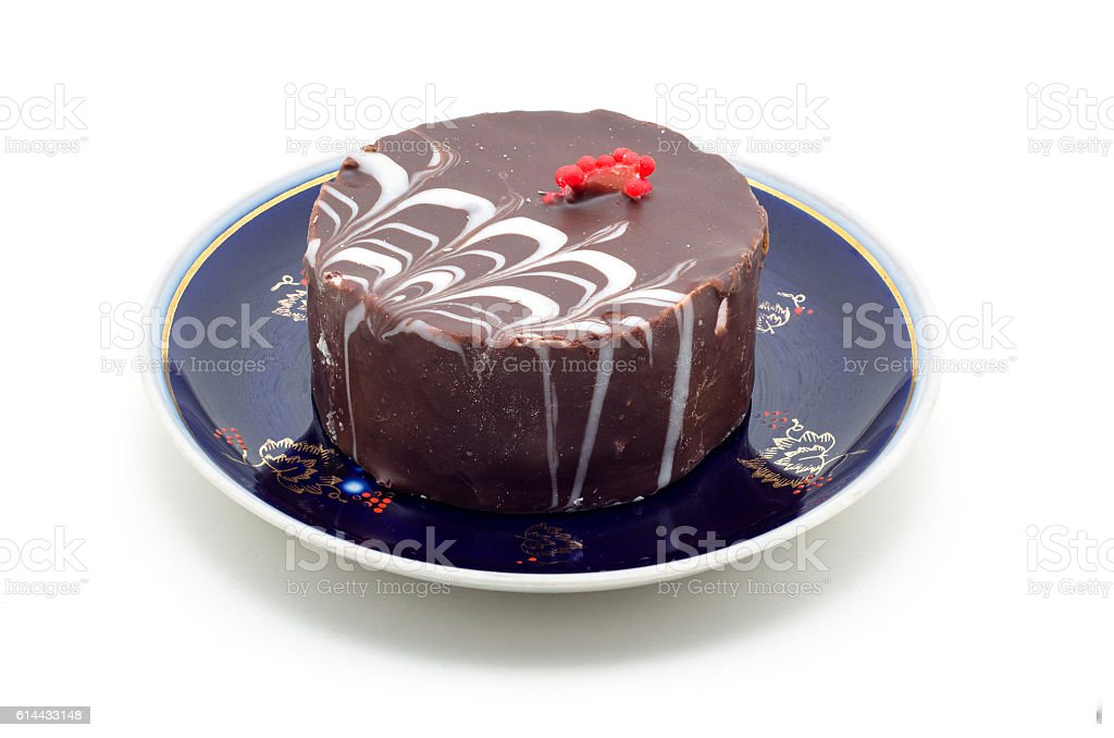 Chocolate cake on a plate isolated on white background. – Foto