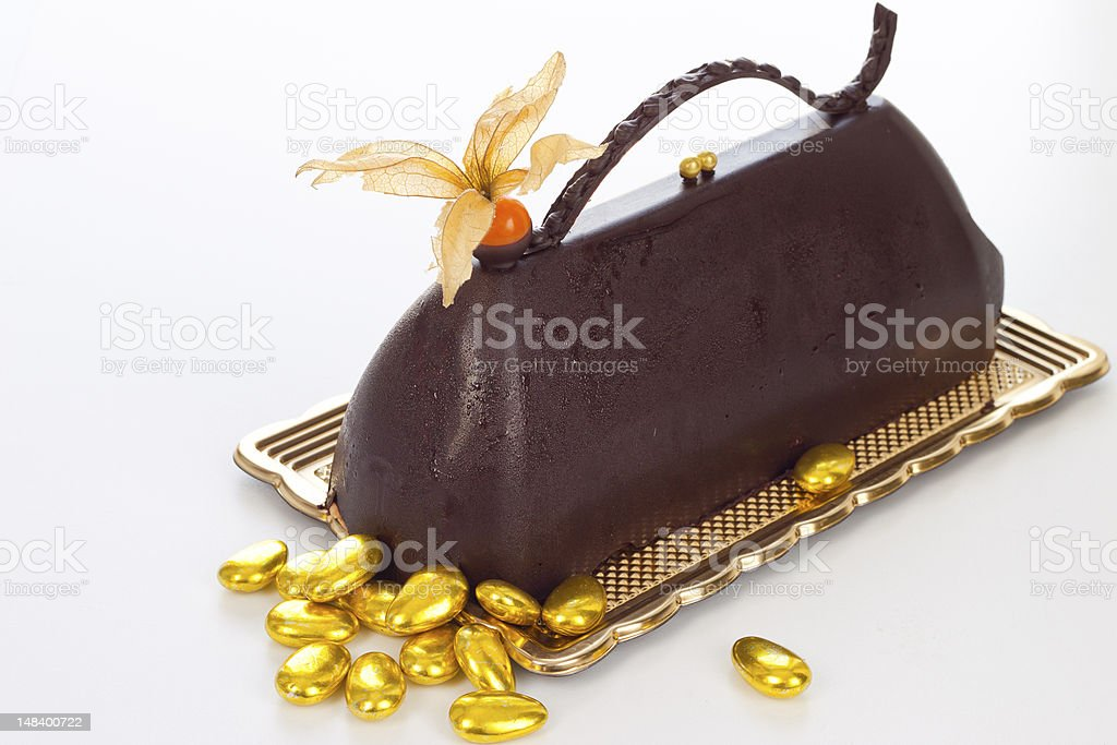 Chocolate cake on a plate. royalty-free stock photo