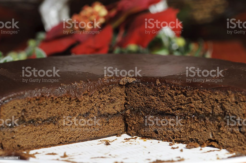 Chocolate Cake on decorated table stock photo