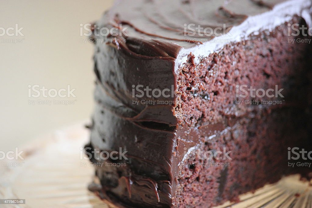 Chocolate Cake on Platter in Natural Light 3 of 4 stock photo