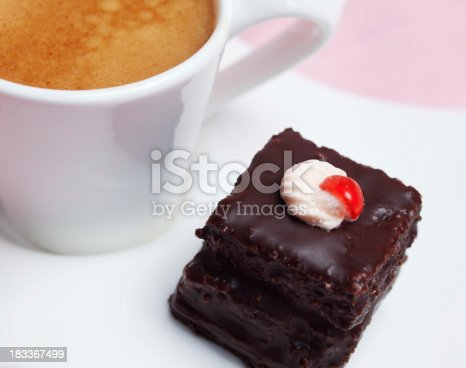 Detail of delicious chocolate cake with coffee