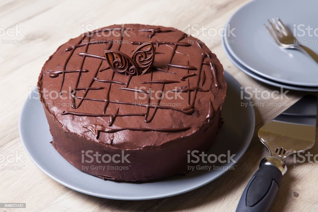 Chocolate cake Prague. Homemade baking. stock photo
