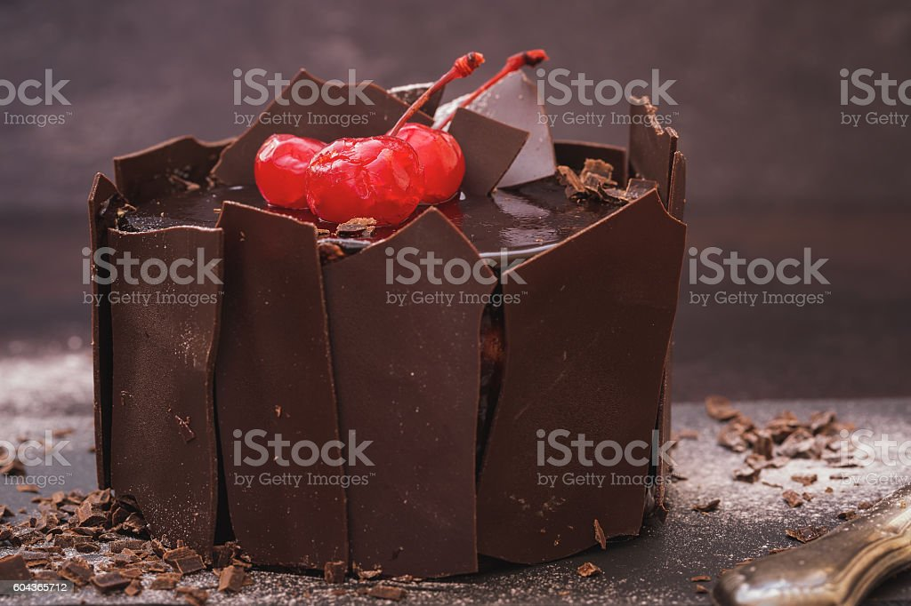 Chocolate cake surrounded by pieces of chocolate stock photo