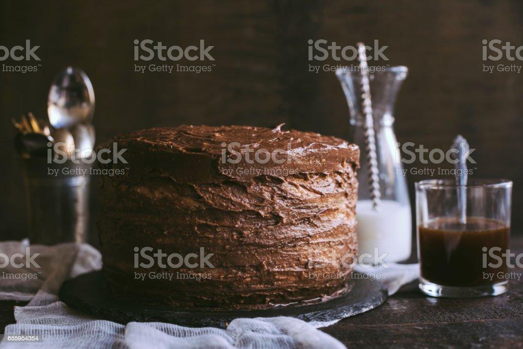 Chocolate cake time stock photo