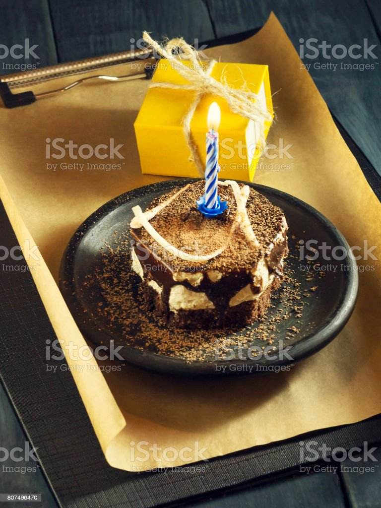 Chocolate Cake With A Candle And Giftshappy Birthday Card Holidays